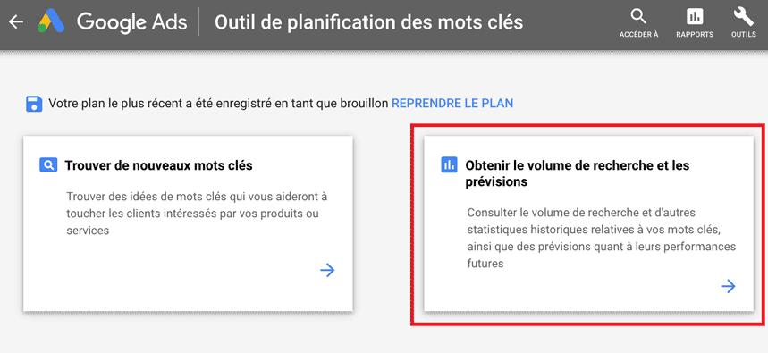 get volume search keyword planner