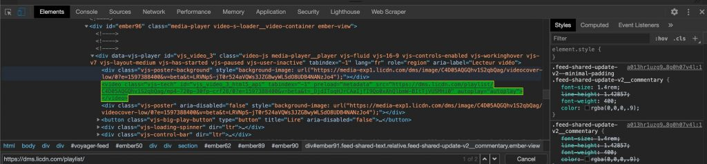source code get linkedin video link