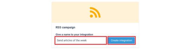 nombre integración de campaña sendinblue rss
