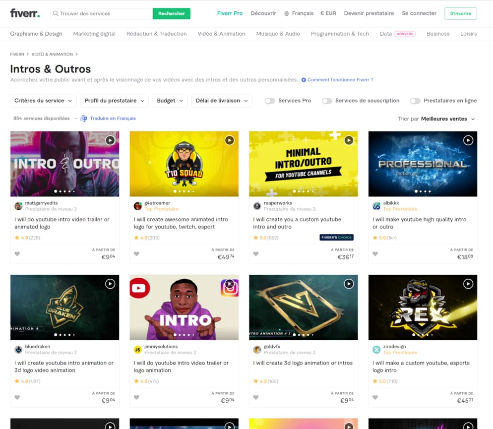 """Overview of the Fiverr site in the section """"Intros & Outros"""""""