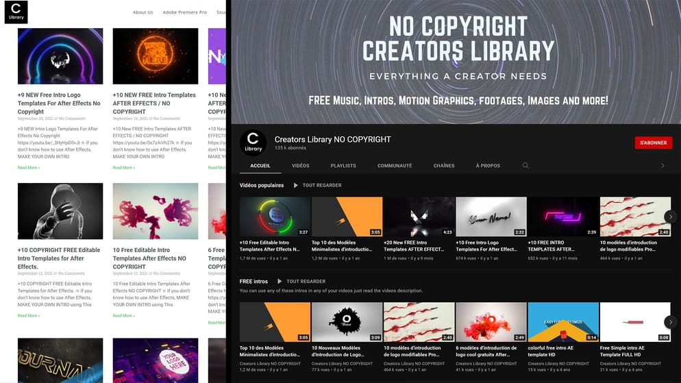 Site and YouTube Channel Overview Creators Library NO COPYRIGHT