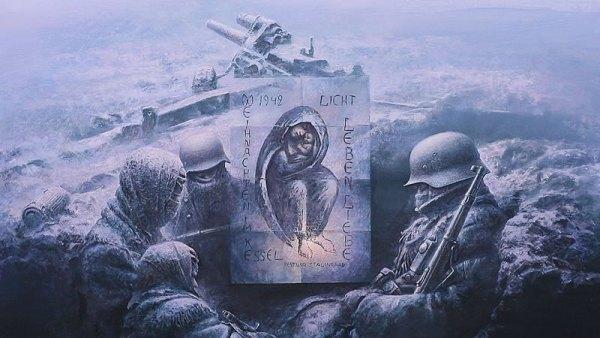 Vierge Marie dessinée par le soldat allemand Kurt Reuber en 1942 à Stalingrad