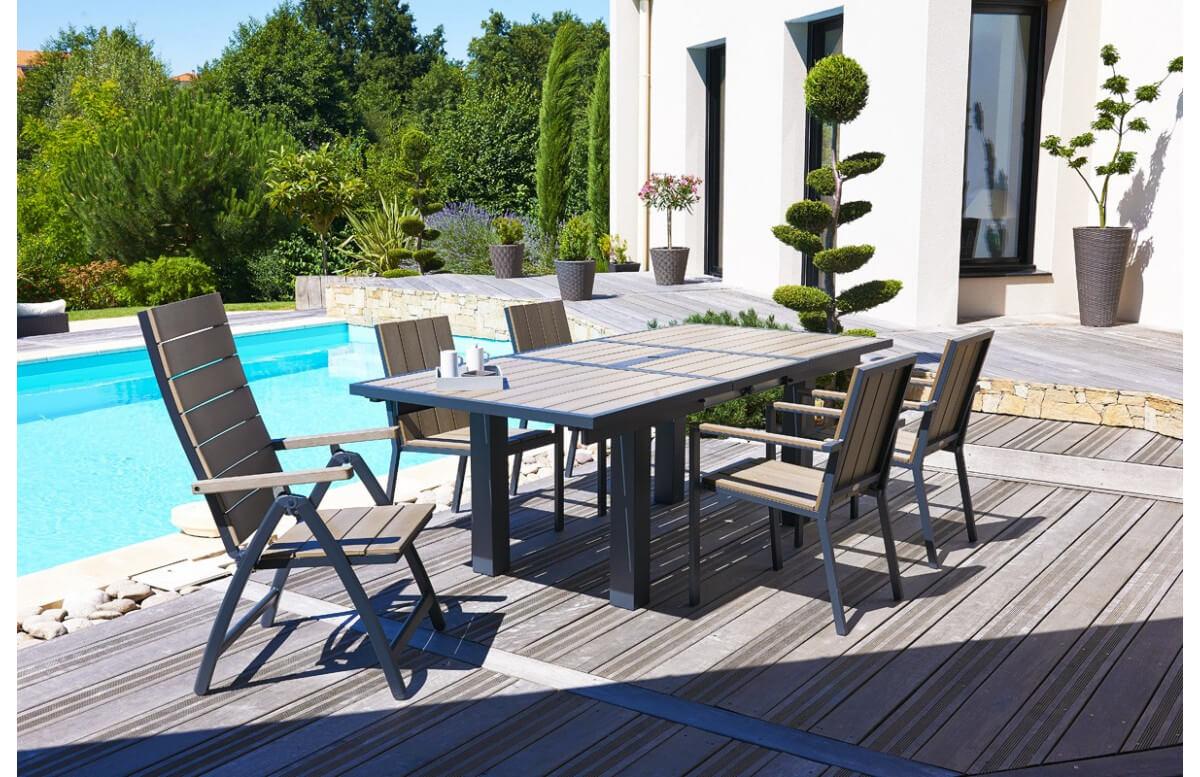 salon de jardin avec 6 fauteuils composite et 2 fauteuils multi positions
