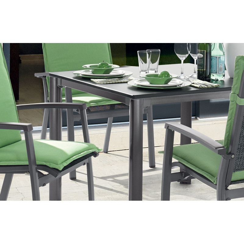 Emejing table de jardin extensible marino gris gallery for Table extensible hpl