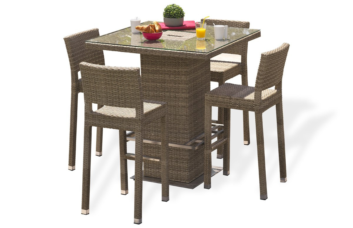 ensemble table et 4 chaises haute marron