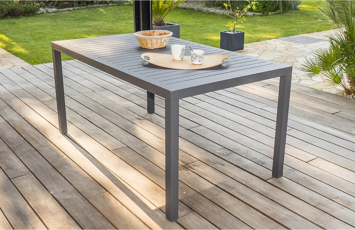 table salon de jardin 6 personnes en aluminium gris dcb garden miami