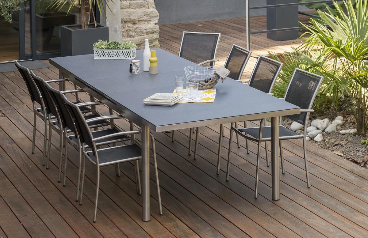 ensemble table et chaises de jardin pour 8 personnes en inox spraystone palermo paris garden