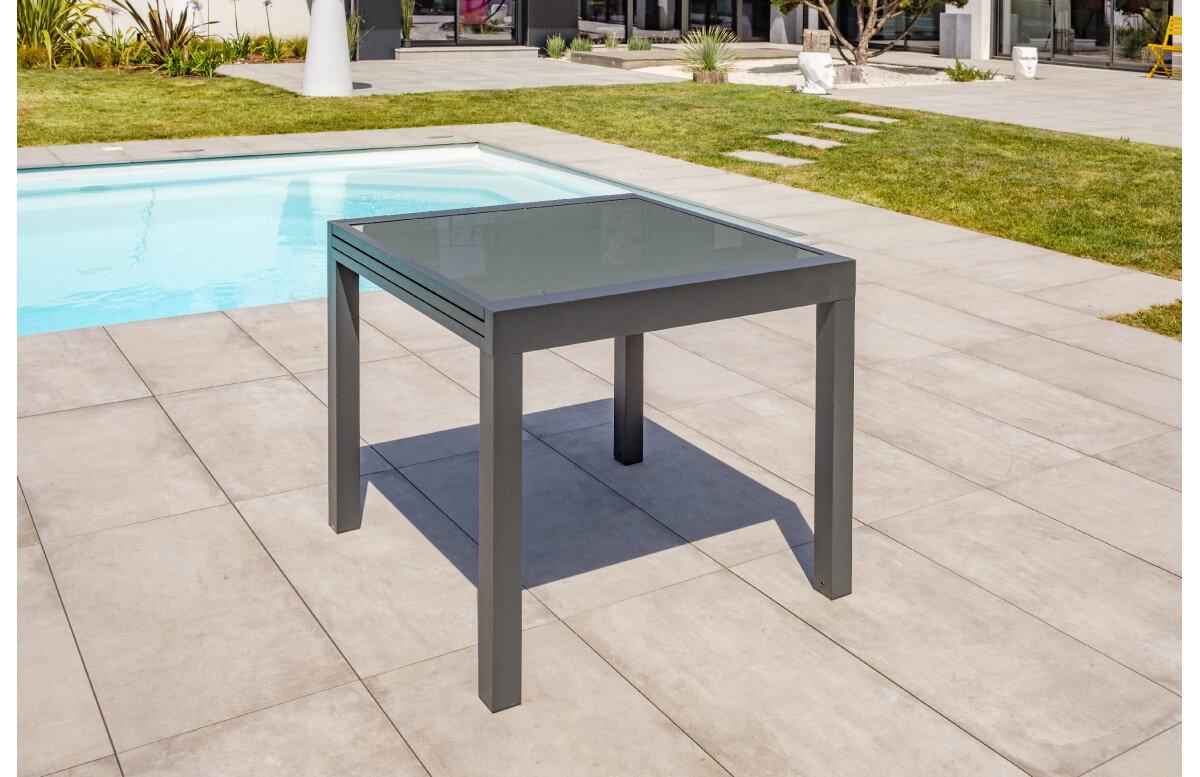 table salon de jardin extensible en alu verre pour 4 personnes dcb garden tolede gris anthracite