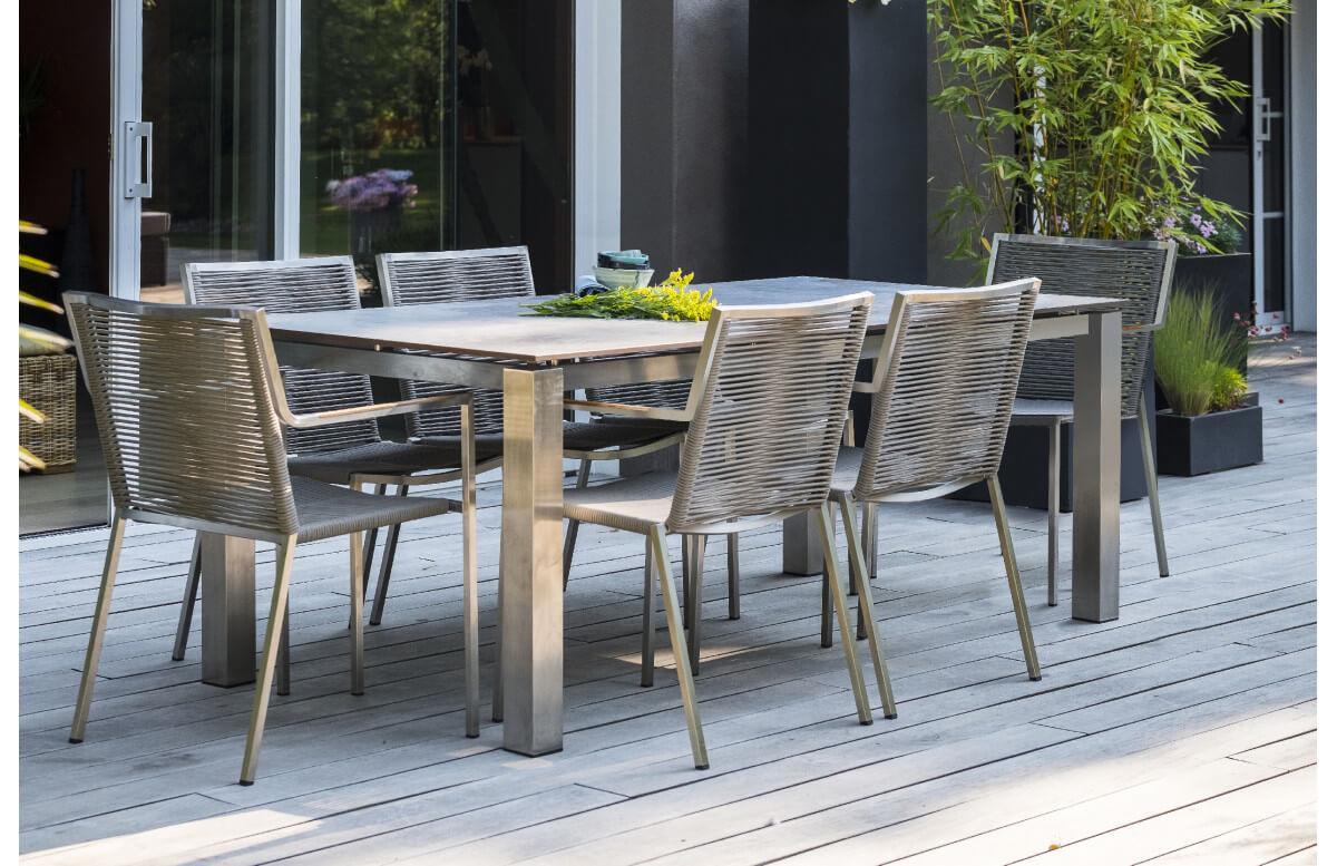 ensemble table et fauteuils de jardin 6 personnes en inox hpl paris garden