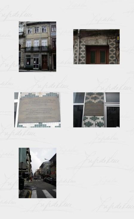 Imagens do Porto, cidade onde Jorge de Sena viveu entre 1940 e 1944, durante seu curso universitário de Engenharia. Em destaque a casa que habitou.