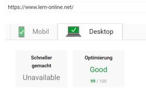 Google Pagespeed Insights Desktop Test am 2. März 2018