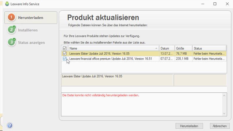Lexware Update Datei konnte nicht heruntergeladen werden