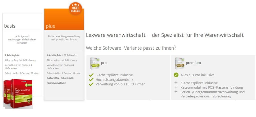 Lexware Faktura und Warenwirtschaft 2017 Versionsarten im Überblick