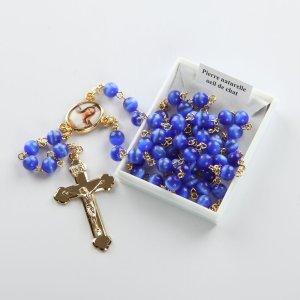 chapelet-bleu royal-doré