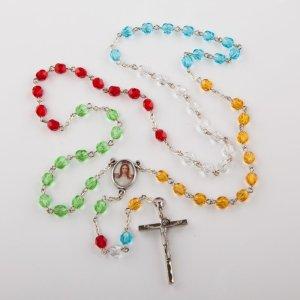 chapelet missionnaire avec perles rondes sur chaîne argentée