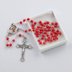 chapelet avec perles rondes corail rouge-4 mm