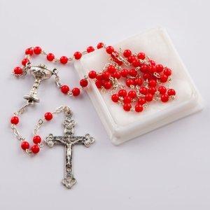 chapelet avec perles rondes corail rouge-chaîne argentée-première communion