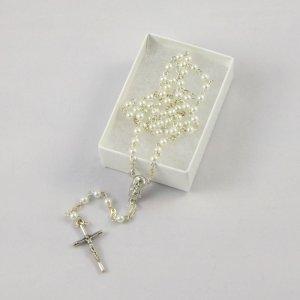 chapelet pour bébé avec perles imitation perle blanche-chaîne argentée