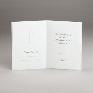 sympathy card with mass offering-chalice and host-inside