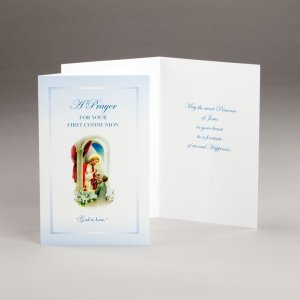 card for holy communion-boys-god is love