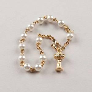 bracelet dizainier première communion perle - chaîne dorée