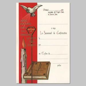 certificat de confirmation - colombe, cierge et bible
