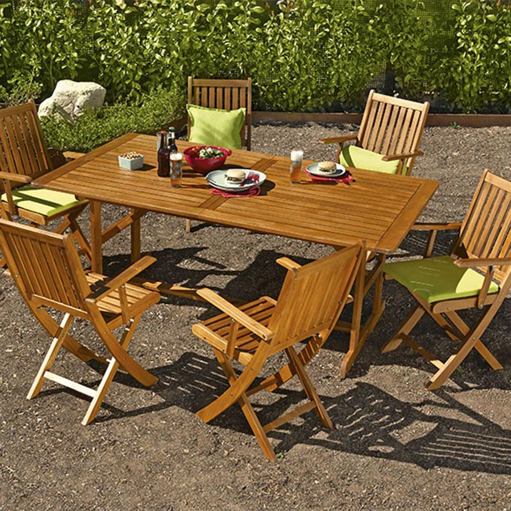 Mesa extensible de madera de acacia ACACIA Ref 16568650