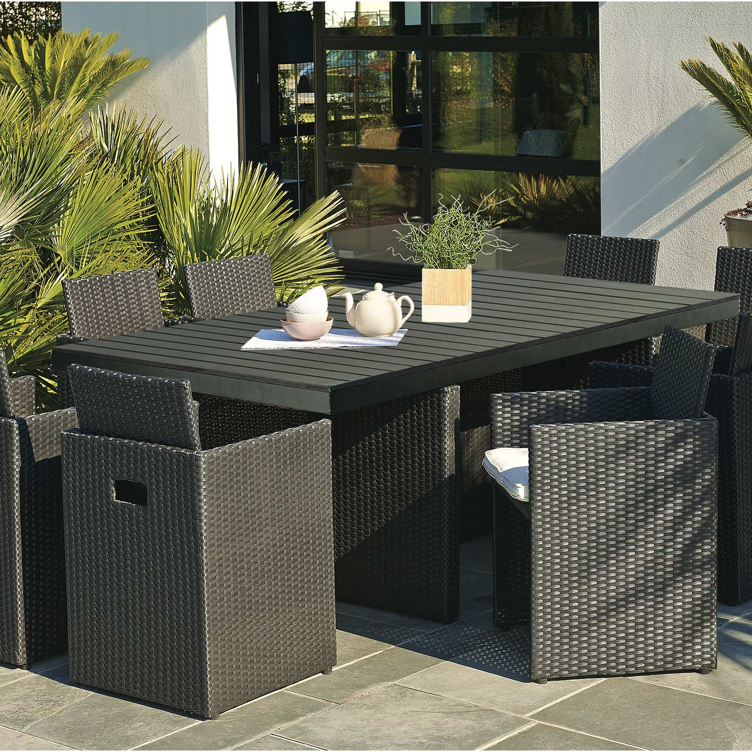 stunning salon de jardin bolzano noir images awesome. Black Bedroom Furniture Sets. Home Design Ideas