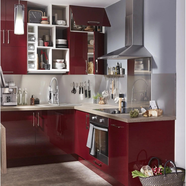Meuble de cuisine rouge DELINIA Griotte  Leroy Merlin
