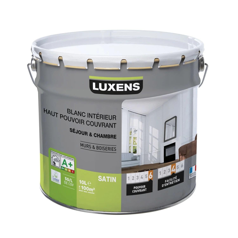 Peinture blanche mur et boiserie Haut pouvoir couvrant LUXENS satin 10 l  Leroy Merlin