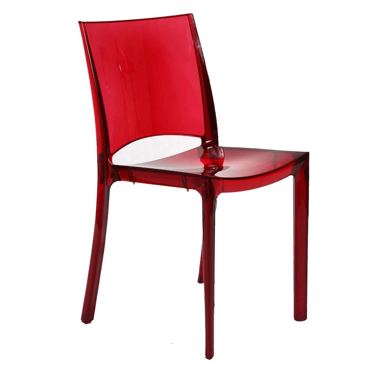 Chaise de jardin en polycarbonate Paris lux rouge  Leroy Merlin