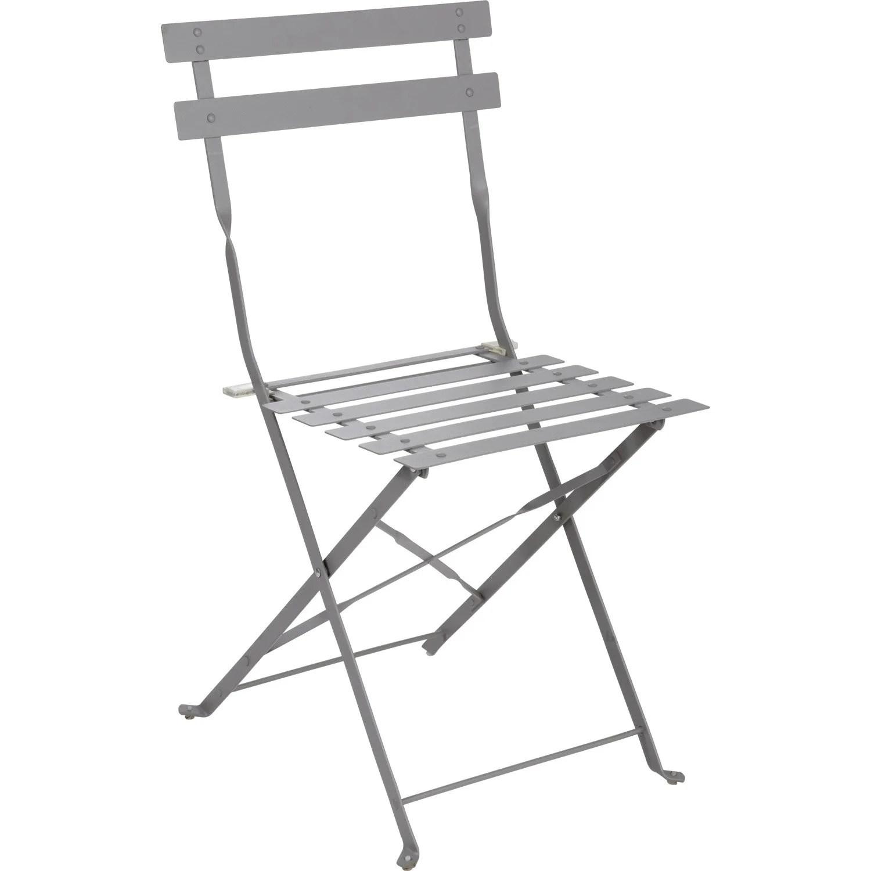 Chaise de jardin en acier Flore gris  Leroy Merlin