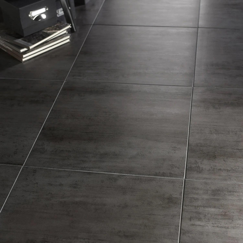 Carrelage sol et mur gris fonc effet bton Eiffel l45 x L45 cm  Leroy Merlin