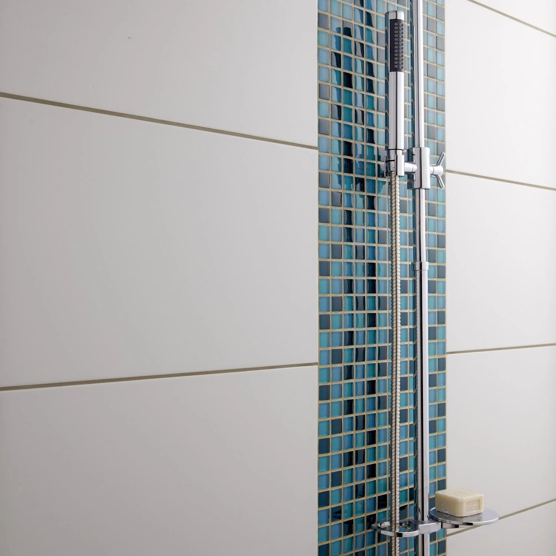 Faence Mur Blanc Brillant Rubix L30 X L60 Cm Leroy