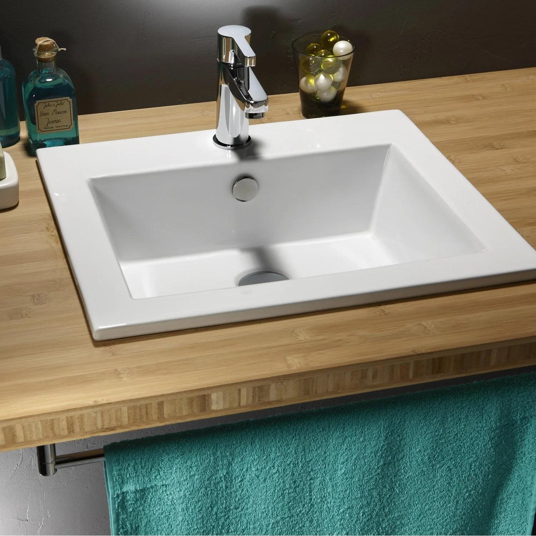 Vasque Encastrer Cramique L50 X P43 Cm Blanc Keo
