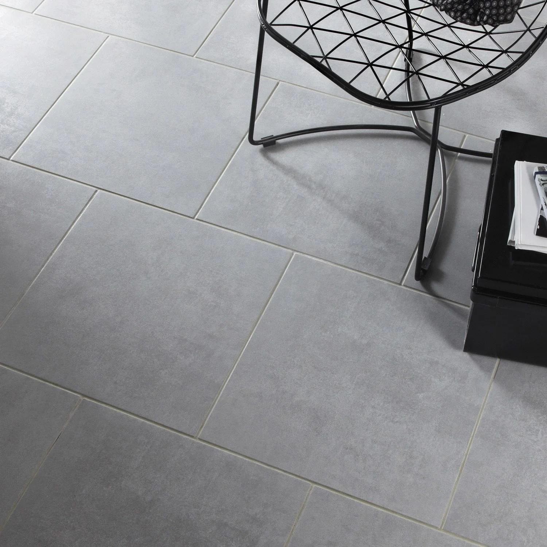 Carrelage sol et mur gris effet bton Factory l45 x L45