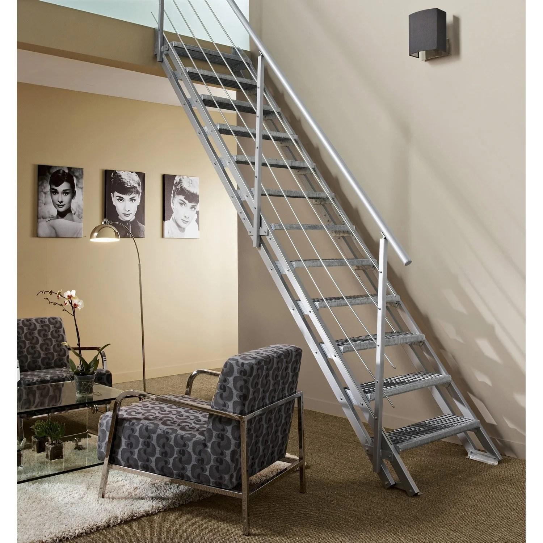 Escalier modulaire Escavario structure acier galvanis marche acier galvanis  Leroy Merlin