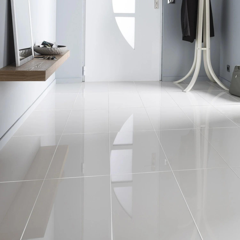 Carrelage sol et mur blanc effet uni crystal l x l - Carrelage blanc leroy merlin ...