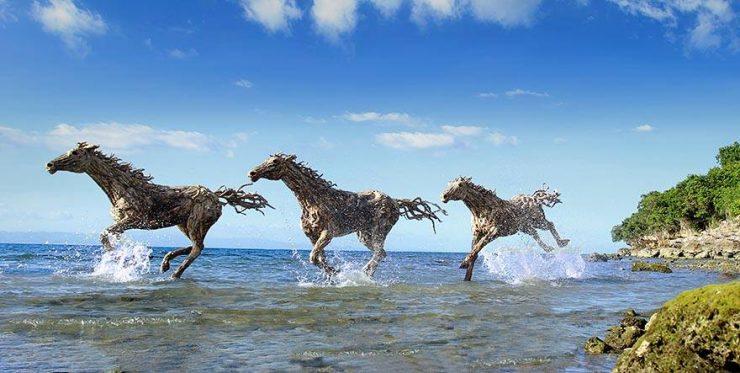 chevaux en bois flotté
