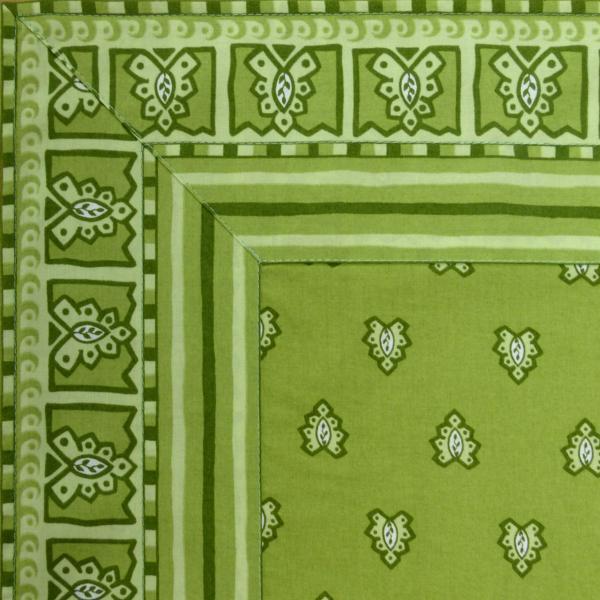 nappe carree 170x170 cm provencale verte motif roussillon