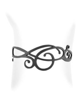 Bracelet courbe noir silicone