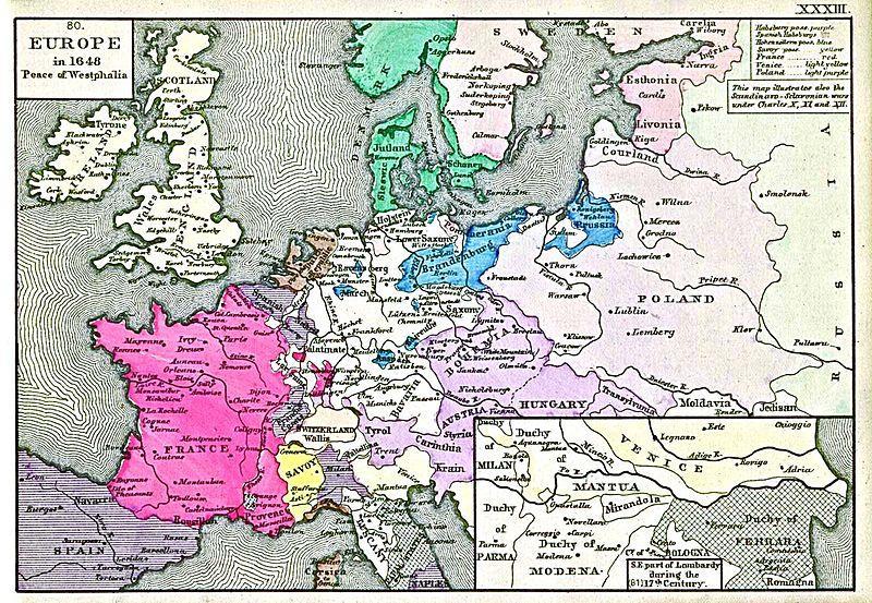 Maison des Habsbourg (en mauve) ; Maison des Hohenzollern (en bleu) ; l'empire de Suède ; La monarchie danoise ; les îles britanniques ; la France (en rouge) ; l'Allemagne ; les républiques de Pologne ; La frontière ouest de la Russie.