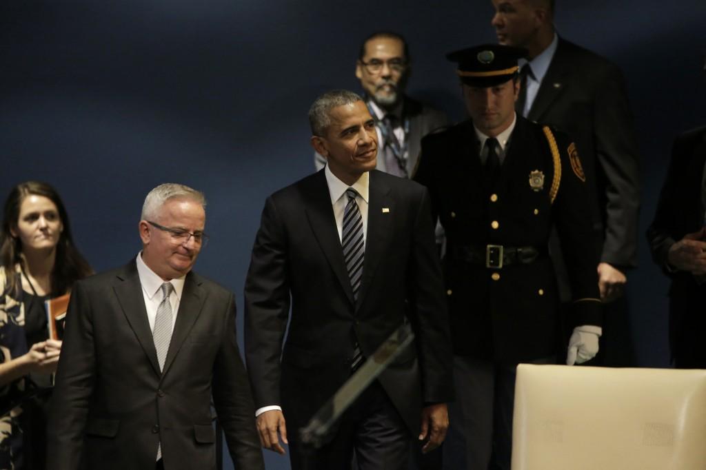 Le président Obama arrive à la 71ème Assemblée Générale annuelle des Nations Unies à New York, le 20 Septembre 2016. (Peter Foley-Via Bloomberg)