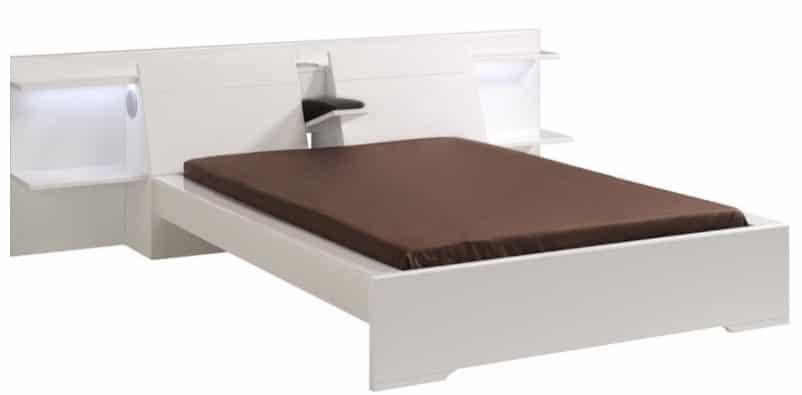 lit avec tables de chevet integrees blanc et pas cher