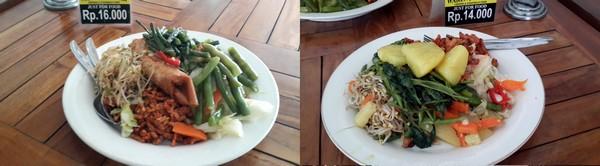 Bon plan à Bali : le resto Warung Murah à 1 euro! Assiette garnie.