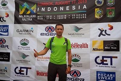 Mont Rinjani, compétition ultra trail 2013 à Lombok Thierry podium