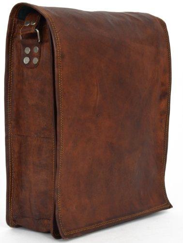 Mad Over Shopping, Porte documents de bureau en cuir véritable fait à la main Sac à bandoulière vintage