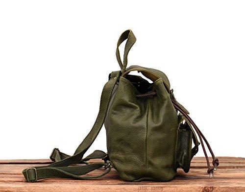 LE BAROUDEUR Vert Olive petit sac à dos en cuir couleur style vintage PAUL MARIUS aVfvyIbMvn
