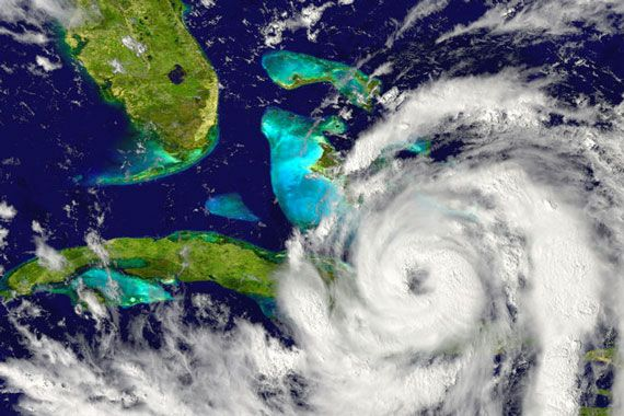 A hurricane on a satellite image
