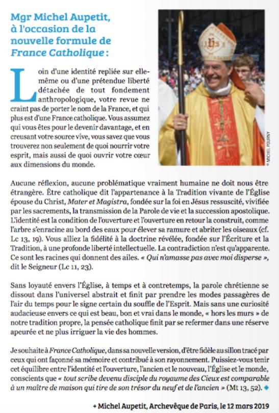 Nouvelle formule pour France Catholique  Le Salon Beige